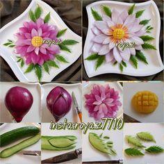 Food Crafts, Diy Food, Amazing Food Decoration, Vegetable Decoration, Food Garnishes, Garnishing, Apple Decorations, Vegetable Carving, Food Carving