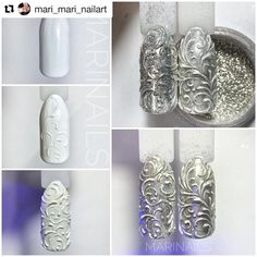 How to succeed in your manicure? - My Nails 3d Nail Art, Swirl Nail Art, 3d Acrylic Nails, 3d Nails, Nail Arts, Glitter Nails, Xmas Nails, Christmas Nails, Nail Art Arabesque