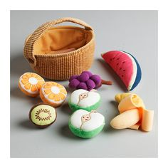 DUKTIG 9-piece fruit basket set IKEA.  Equally great and the banana peels open and closed with velcro!