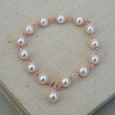 Rose Gold Filled Pearl Bracelet