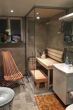 a great idea for a Spa in our homes. - Sauna im Keller - Home Home Steam Room, Sauna Steam Room, Sauna Room, Diy Sauna, Basement Sauna, Modern Saunas, Private Sauna, Indoor Sauna, Sauna Design