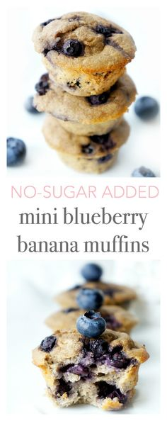 These adorable and healthy gluten-free and vegetarian mini blueberry banana muffins are sweetened naturally and contain no added sugar. They're also great for little hands and a portion-controlled snack option for the whole family! The perfect little healthy bite for those lunch boxes or on-the-go snacks!