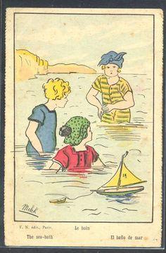 "PA156 a/s MELEK ""THE SEA-BATH"" GROUP of CHILDREN bathing MODEL BOAT"