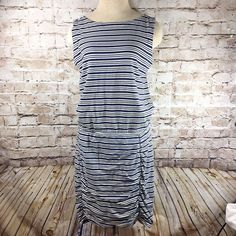 ATHLETA Sleeveless Topanga Dress Blue White Striped Size Medium Ruched Stretch  #Athleta #Casual