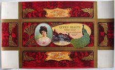 QUEEN BEAUTY Vintage Toilet Soap Box Label