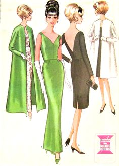 1960s GORGEOUS Evening Gown Cocktail Dress and Coat Pattern McCalls 7562 Low V  Back Slinky Slim Dress Gala Evening Coat Bust 34 Vintage Sewing Pattern