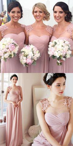 Fashion Chiffon Blush Pink Long Bridesmaid Dress - Thumbnail 3