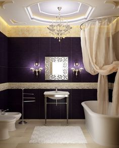 purple interior design bathroom - must be for decorating purposes only! Pretty but doesn't look useable (tub/shower)