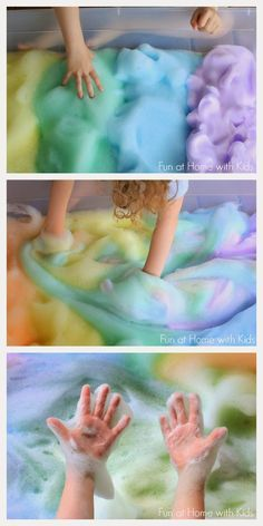 Rainbow Soap Foam Bubbles Sensory Play - just use washing up liquid, a mixer and some watercolour paint or food colour
