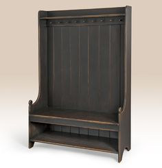 Historical Hall Tree in a primitive black finish. This is the perfect bench for a foyer.