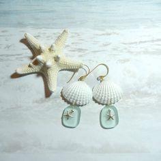Seashell Earrings, Mermaid's Tears, Seaglass, Sea Glass ideas crafts, shells, starfish, ocean tumbled (by ShellScapes on Etsy)