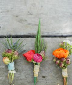 Boutonniere design. We will wrap with twine though. Maybe Bridger's could have lace? I will ask him.