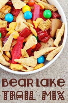 Looks way better than regular trail mix! 2 bags regular Chex Mix 1 bag Bugles 1 bag Chocolate Chip Teddy Grahams 1 bag Pretzel M's I bag Swedish Fish 1 bag Goldfish crackers Directions: Mix all ingredients in a large bowl. Trail Mix Recipes, Snack Mix Recipes, Yummy Snacks, Yummy Food, Snack Mixes, Yummy Treats, Healthy Snacks, Chex Mix, Fun Snacks For Kids