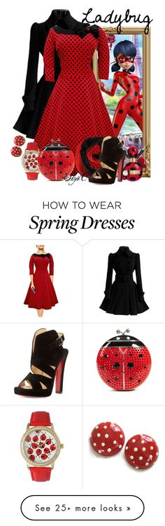 """Ladybug - Miraculous Ladybug"" by rubytyra on Polyvore featuring Chicnova Fashion, Marc Jacobs, Olivia Pratt, Christian Louboutin, Kate Spade, women's clothing, women, female, woman and misses"