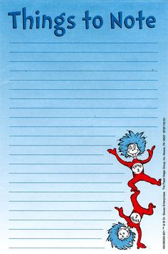 Cat in the Hat Things to Note Teachers Notepads | Eureka School