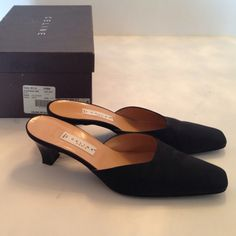 """Celine Black Satin Mules These Celine black satin mules are the perfect everyday shoe. So simple and so clean, these shoes are in terrific condition. Size 37.5. The heel height measures at 2.2"""". Will come in their Celine box. Final sale. Celine Shoes Mules & Clogs"""