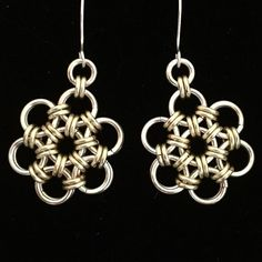 Dreaming of Springtime with these Daisy Chain Earrings. Silver (plate) & Champagne shown, also available in Silver & Rose Gold or Aqua.  #MindarlaDesign #contemporaryjewellery #handcrafted #chainmaille #jewellery #madeinscotland #helensburgh #earrings #ScottishDesign #micromaille