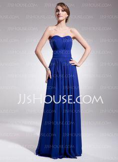 Vestidos princesa/ Formato A Coração Vestidos longo Tecido de seda Vestidos de festa com Pregueado (017014561)