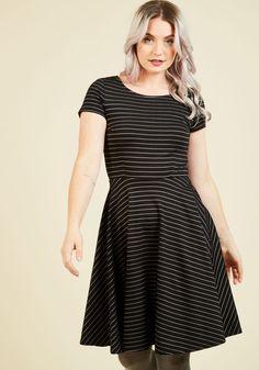 Playlist Professional A-Line Dress in Striped Black, @ModCloth