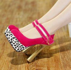 zapatos de estilo leopardo de color rojo modelo 2013
