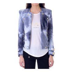 Balmain Cotton Jacket ($1,377) ❤ liked on Polyvore featuring outerwear, jackets, blue, blue jackets, cotton jacket, cotton zip jacket, pattern jacket and blue cotton jacket