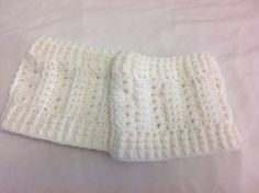 White Mock Cable Knit Crochet Boot Cuffs one by NiftyNeedlework