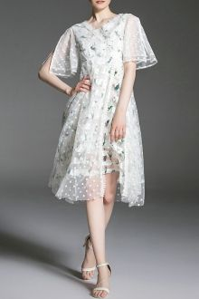 Bell Sleeve Striped Gauzy Dress
