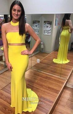 Two Piece Prom Dresses Yellow, Jersey Formal Evening Dresses Long, Classy Military Ball Dresses High Neck, For Teens Wedding Party Dresses Cute Modest Formal Dresses, Formal Dresses For Teens, Cute Prom Dresses, Trendy Dresses, Tight Dresses, Party Dresses, Pageant Dresses, Homecoming Dresses, Prom Gowns