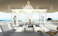 California College of the Arts architecture student Lujac Desautel re-examines traditional yacht design with GLASS, a beautifully minimalist concept that Palace, Floating Architecture, Floating Platform, Glass Elevator, Weathered Furniture, Floating House, Yacht Design, Modern Glass, Luxury Yachts