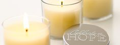 """Celebrating Hope Candle -   (3.- of each purchase goes to our Charitable partners.) This special """"Hope"""" candle is the perfect gift that keeps on giving."""