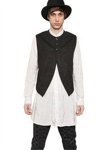 Ann Demeulemeester - Cotton Viscose Peach Cloth Vest | FashionJug.com