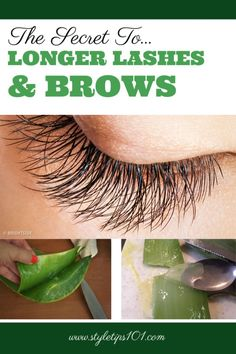 The secret to longer lashes and thicker brows? A DIY concoction that consists of all natural ingredients such as aloe vera and castor oil - MADE for hair growth! Beauty Care, Diy Beauty, Beauty Skin, Health And Beauty, Beauty Hacks, Homemade Beauty, How To Grow Eyelashes, Thicker Eyelashes, Long Lashes