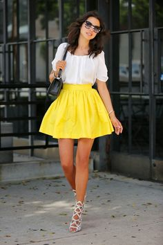 PARTYSKIRTS Katrin's skirt in yellow | Joie Eleanor top | Sophia Webster Mila sandals { also here, in black here } | Chanel Boy flap bag | Z...