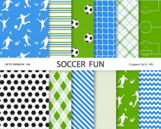 Soccer Paper pack in navy green and blue, football futbol soccer scrapbook paper, soccer digital paper - BR 246