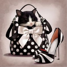 cat sleeping in bow bag High heels Diamond embroidery Square Round Painting Diy Mosaic cross stitch Home Decoration I Love Cats, Crazy Cats, Cute Cats, Memes Chats, Bow Bag, Gatos Cats, 5d Diamond Painting, Cat Sleeping, Cat Lady