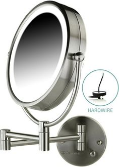 Ovente Wall Mount Makeup Mirror, Direct Hard Wire, 8.5 Inch, 1x/7x Magnification, Nickel Brushed (MPWD3185BR1x7x) Review