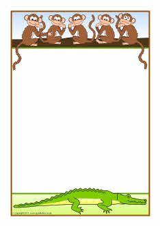 Five Little Monkeys A4 page borders (SB6365) - SparkleBox