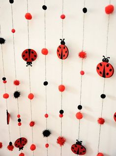 Pompon and ladybird garland.Baby boy and girl birthday decoration.Handmade and ready to ship! Ladybug 1st Birthdays, First Birthdays, Baby Girl Birthday, First Birthday Parties, Frozen Birthday, 2nd Birthday, Festa Lady Bag, Miraculous Ladybug Party, Diy And Crafts