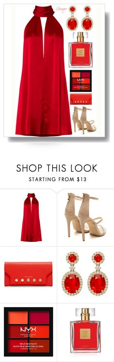 """Little Red Dress"" by gemique ❤ liked on Polyvore featuring Galvan, Ted Baker, NYX and Avon"
