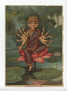 Mother Gayatri Indian Goddess, Durga Goddess, Divine Mother, Mother Goddess, Om Namah Shivaya, Raja Ravi Varma, Tibetan Art, Art Folder, Hindu Deities