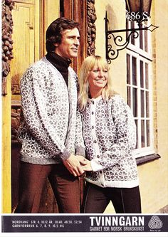 Nordvang 686 S (Hedmark) Norwegian Knitting, Fair Isle Knitting, Color Patterns, Color Combinations, Knitting Patterns, Ruffle Blouse, Sweaters, Vintage, Tops
