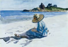 Edward Hopper, Jo Sketching at Good Harbor Beach, 1925–28, watercolor. Whitney Museum of American Art