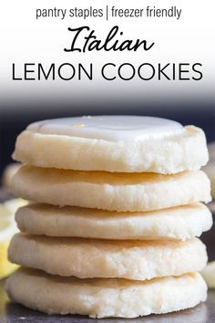 Italian Lemon Cookies Perfect melt in your mouth Lemon Cookies. If you love anything lemon then you are going to love these cookies. Light and easy to make, with a tasty lemon glaze, they are sure to satisfy any lemon lover! Perfect for spring and summer! Lemon Desserts, Lemon Recipes, Cookie Desserts, Just Desserts, Sweet Recipes, Baking Recipes, Delicious Desserts, Dessert Recipes, Yummy Food