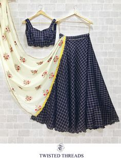 Navy blue cotton satin lehenga blouse teamed up with floral thread embroidered pure chiffon dupatta. Half Saree Designs, Choli Designs, Lehenga Designs, Blouse Designs, Salwar Designs, Indian Gowns Dresses, Indian Fashion Dresses, Indian Designer Outfits, Baby Dresses