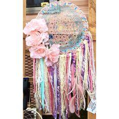 Rainbow rose dream catcher. Handmade lace doilie vintage dreamcatcher. Unicorn shabby chic nursery ideas. Modern boho. Bohemian baby shower inspo.