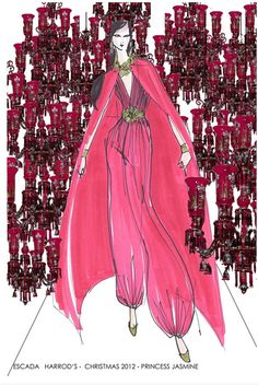 This beautiful sketch is VOGUE's preview showing ESCADA's couture interpretation of Princess Jasmine from the movie Aladdin for this year's Christmas windows at Harrods. Marvellous! Find out more >http://bit.ly/HarrodsDisneyPrincess