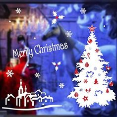 Christmas Wall Stickers OverDose PVC Removable Display Window Showcase Decor Christmas treeWhite *** Details can be found by clicking on the image.