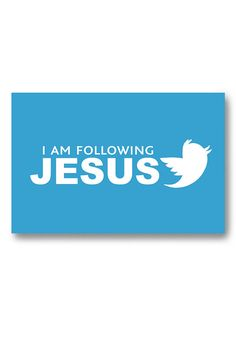Fridge magnet Christian art - Jesus Twitter follower , Title : I am following Jesus with twitter bird , Kitchen magnet reminder