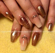 Rose gold glitter ombré acrylic nails & Swarovski nail art