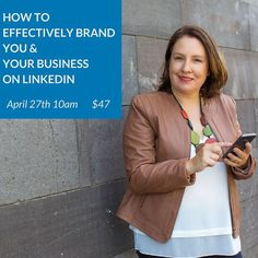 How to Effectively Brand You & Your Business on LinkedIn: Please join me for my next Online Seminar where we'll take a deep dive into how to write a more effective LinkedIn Profile and create a Company Page for you to get better results for your business on LinkedIn.  At this 1 hour online seminar you will learn how to present the key features of your LinkedIn Profile and Company Page to help grow your business with LinkedIn. A practical and down to earth session. You can take the insights I…
